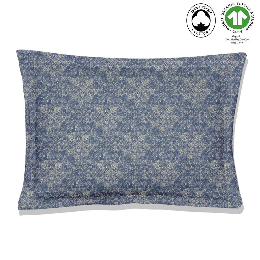 Fiesta Reversible Print Blue 100% Organic Cotton Queen Sham (Set of 2)