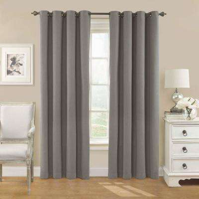 Nadya Solid Blackout Window Curtain Panel in Smoke - 52 in. W x 63 in. L