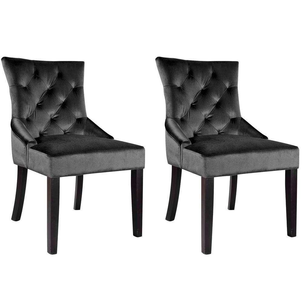 CorLiving Antonio Dark Grey Velvet Accent Chair (Set of 2)