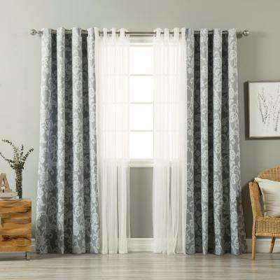 uMIXm Tulle and Henna Grey Flower Curtain - 52 in. W x 84 in. L (4-Pack)