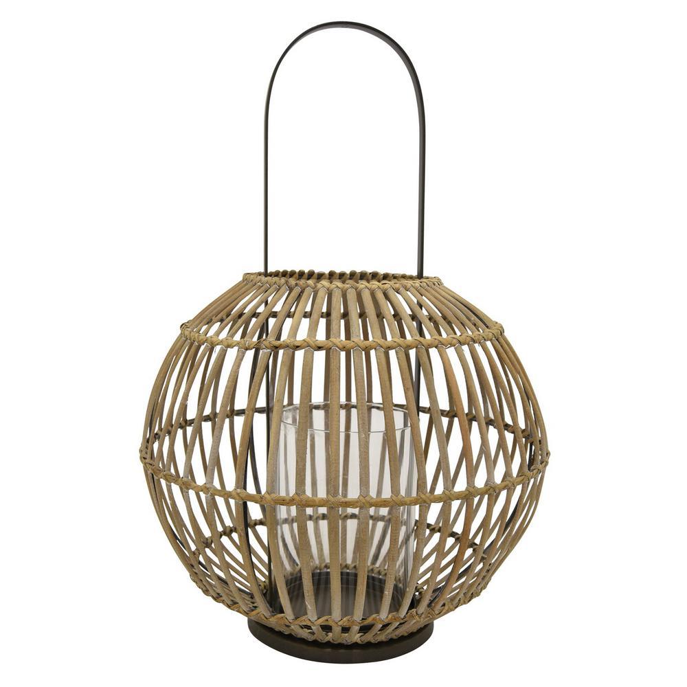 12 in. x 12 in. Brown Bamboo Lantern