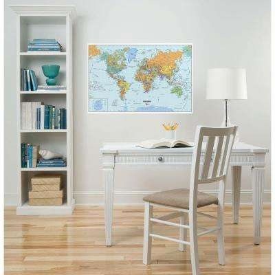 24 in. x 36 in. Dry Erase World Map Wall Decal