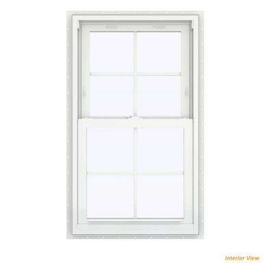 23.5 in. x 40.5 in. V-2500 Series White Vinyl Double Hung Window with Colonial Grids/Grilles