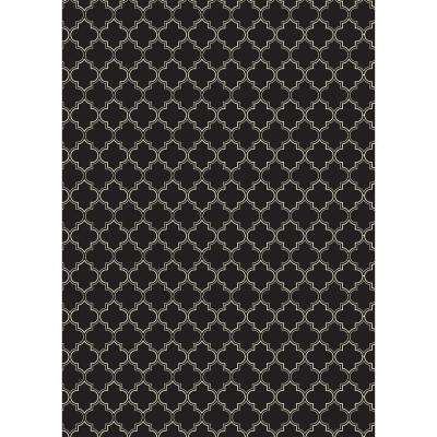 Quaterfoil Design 5ft x 7ft black & white Indoor/Outdoor vinyl rug.