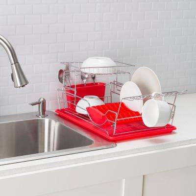18.37 in. x 5.62 in. x 12.25 in. 2-Tier Dish Drainer in Red