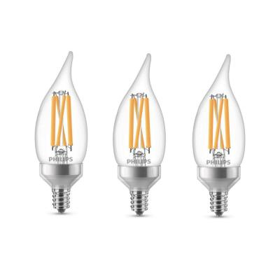 75-Watt Equivalent BA11 Dimmable Warm Glow Dimming Effect LED Candle Light Bulb Bent Tip E12 Soft White (2700K) (3-Pack)