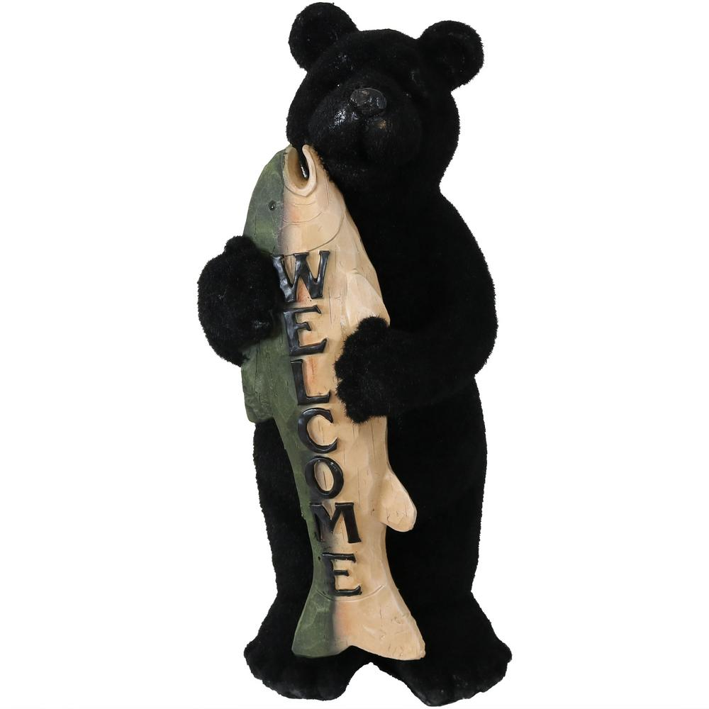 Welcome Statue Rustic Bear With Fish