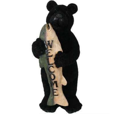 22 in. Welcome Statue Rustic Bear with Fish Catch of the Day, Outdoor Garden and Yard Guest Greeter
