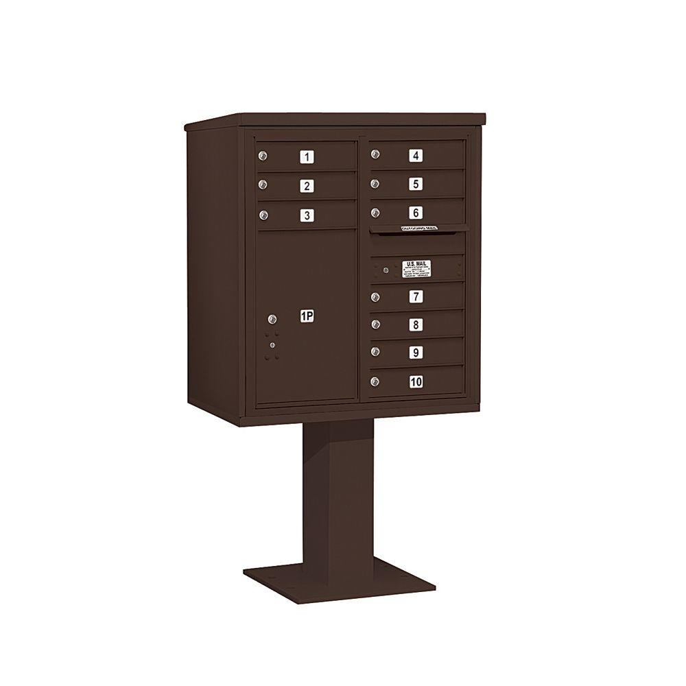 3400 Series Bronze Mount 4C Pedestal Mailbox with 10 MB1 Doors/1