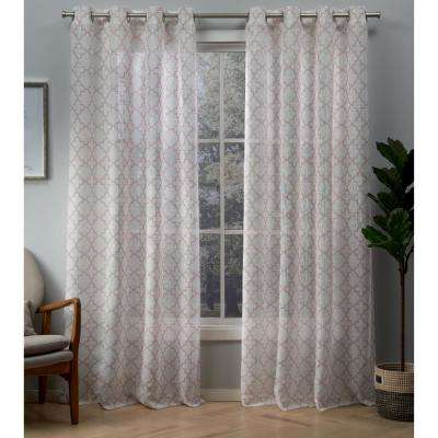 Helena 54 in. W x 96 in. L Sheer Grommet Top Curtain Panel in Blush (2 Panels)