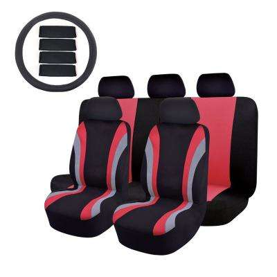 47 in. x 23 in. x 1 in 14PC Universal Fit Full Set Sports Fabric car seat cover set for SUV Truck Van