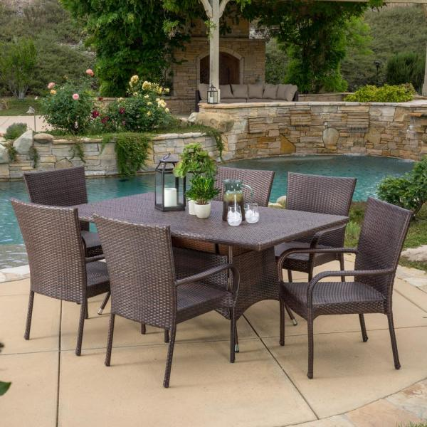Averie Multi-Brown 7-Piece Wicker Outdoor Dining Set with Stacking Chairs