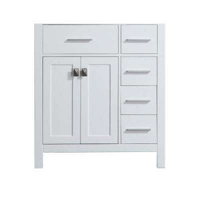 29.9 in. Main Cabinet Only in White with Fine Brushed Chrome, Antique Bronze Hardware