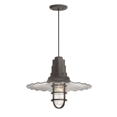 Radial Wave 18 in. Shade 1-Light Textured Bronze Finish Pendant