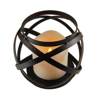 Metal Lantern - Warm Black Banded Design with Battery Operated Candle