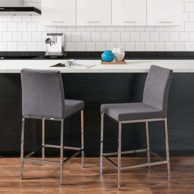 Huntington 25 in. Grey Fabric Cushioned Bar Stool (Set of 2)