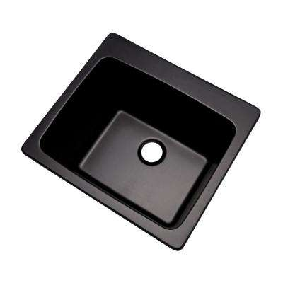 Wakefield Natural Stone Dual Mount Granite Composite 25 in. 0-Hole Utility Single Bowl Kitchen Sink in Black