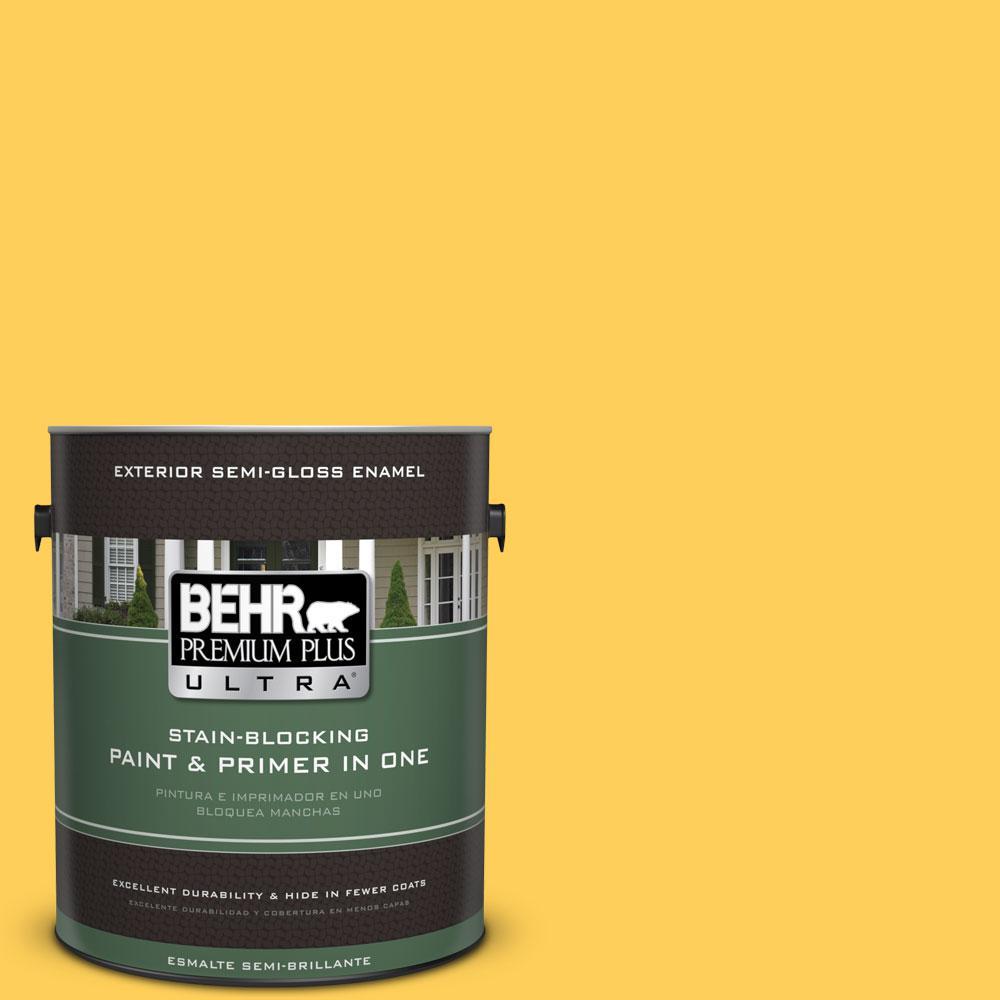 BEHR Premium Plus Ultra 1-gal. #330B-6 Lemon Sorbet Semi-Gloss Enamel Exterior Paint