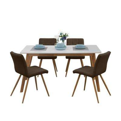 Windsor 5-Piece Dining Set w/White Topped Rectangle Table and Armless Upholstered Dining Chairs in Chocolate Brown Linen