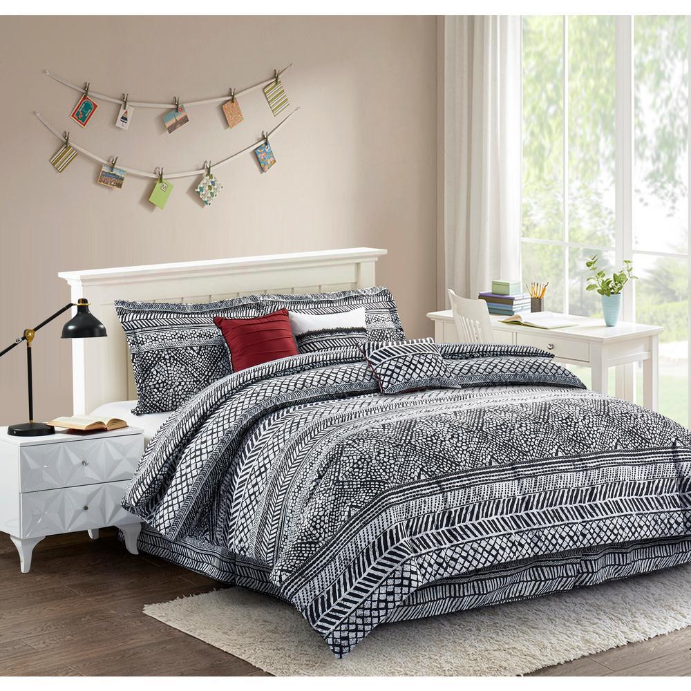Mosaic Black 7-Piece Queen Comforter Set