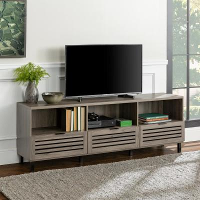 70 in. Slate Gray Composite TV Stand with 3 Drawer Fits TVs Up to 75 in. with Doors