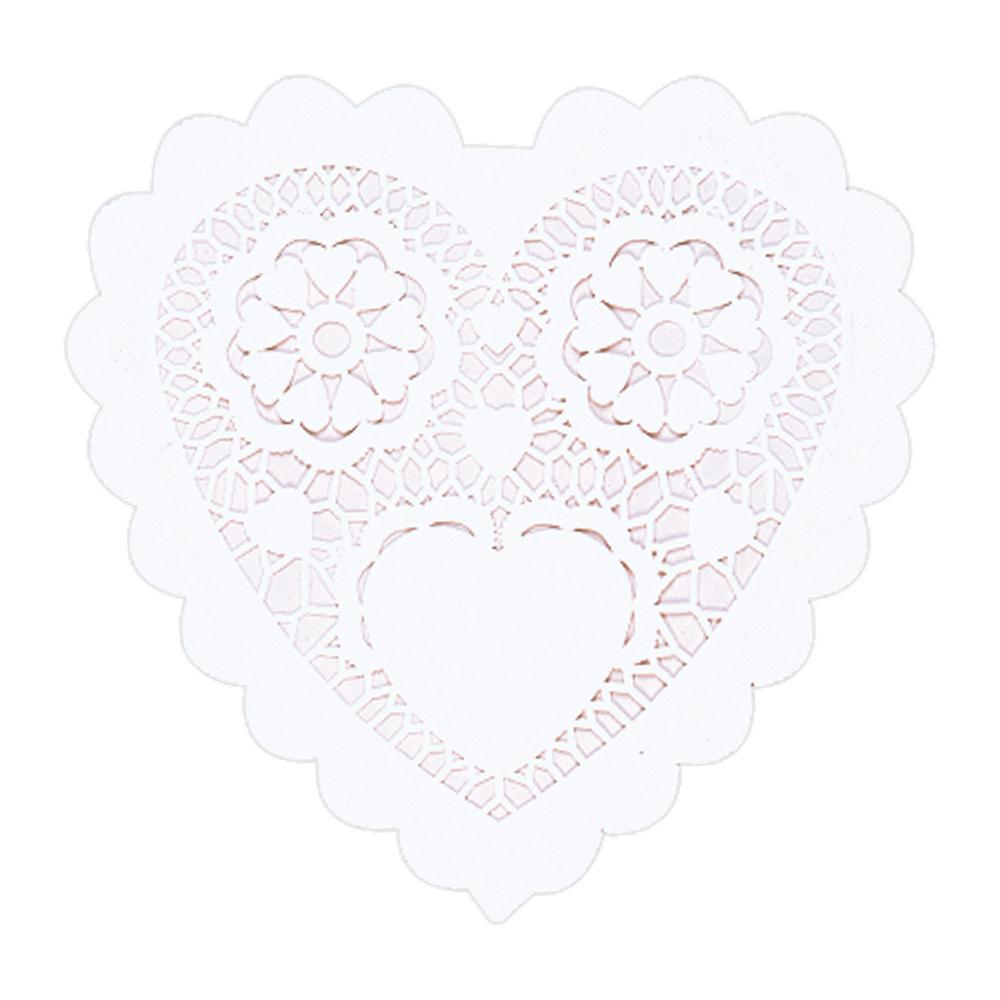 Amscan 6 In Valentines Day White Paper Heart Shaped Doilies 20 Doyleys Count