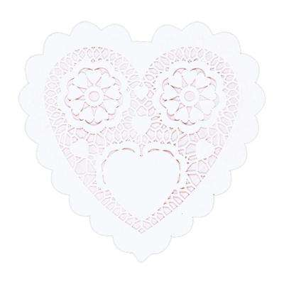 6 in. Valentine's Day White Paper Heart Shaped Doilies (20-Count, 8-Pack)