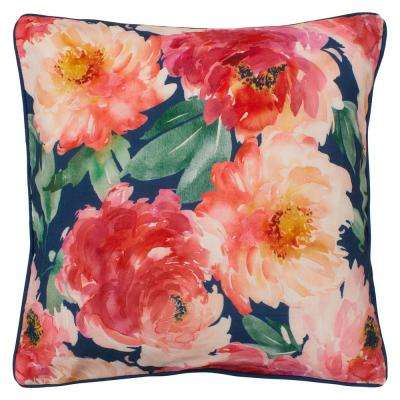 Peony Bloom 20 in. x 20 in. Standard Decorative Pillow, Navy