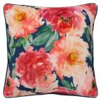 Peony Bloom Navy and Red Floral Down 20 in. x 20 in. Throw Pillow