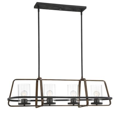 Ryder 4-Light Forged Black Interior Island Chandelier with Clear Glass Shade