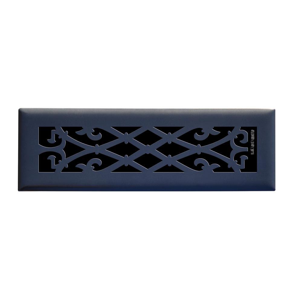 Elegant Scroll 2 in. x 10 in. Steel Floor Register in Matte Black