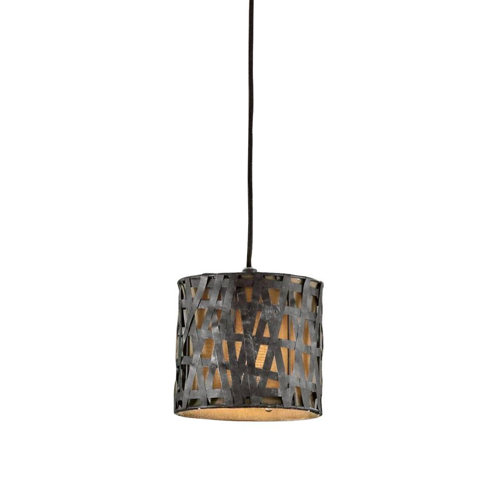 Home Decorators Collection 1-Light Rust Black Mini Pendant