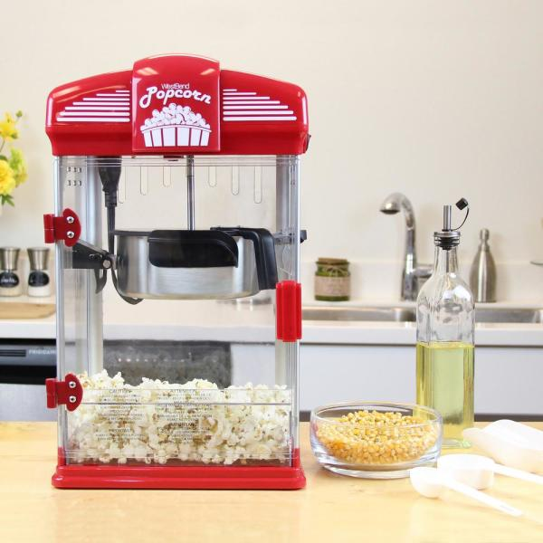West Bend 4 Quart Red Hot Oil Movie Theater Style Popcorn Popper Machine With Nonstick Kettle Includes Measuring Cup And Scoop 82515 The Home Depot