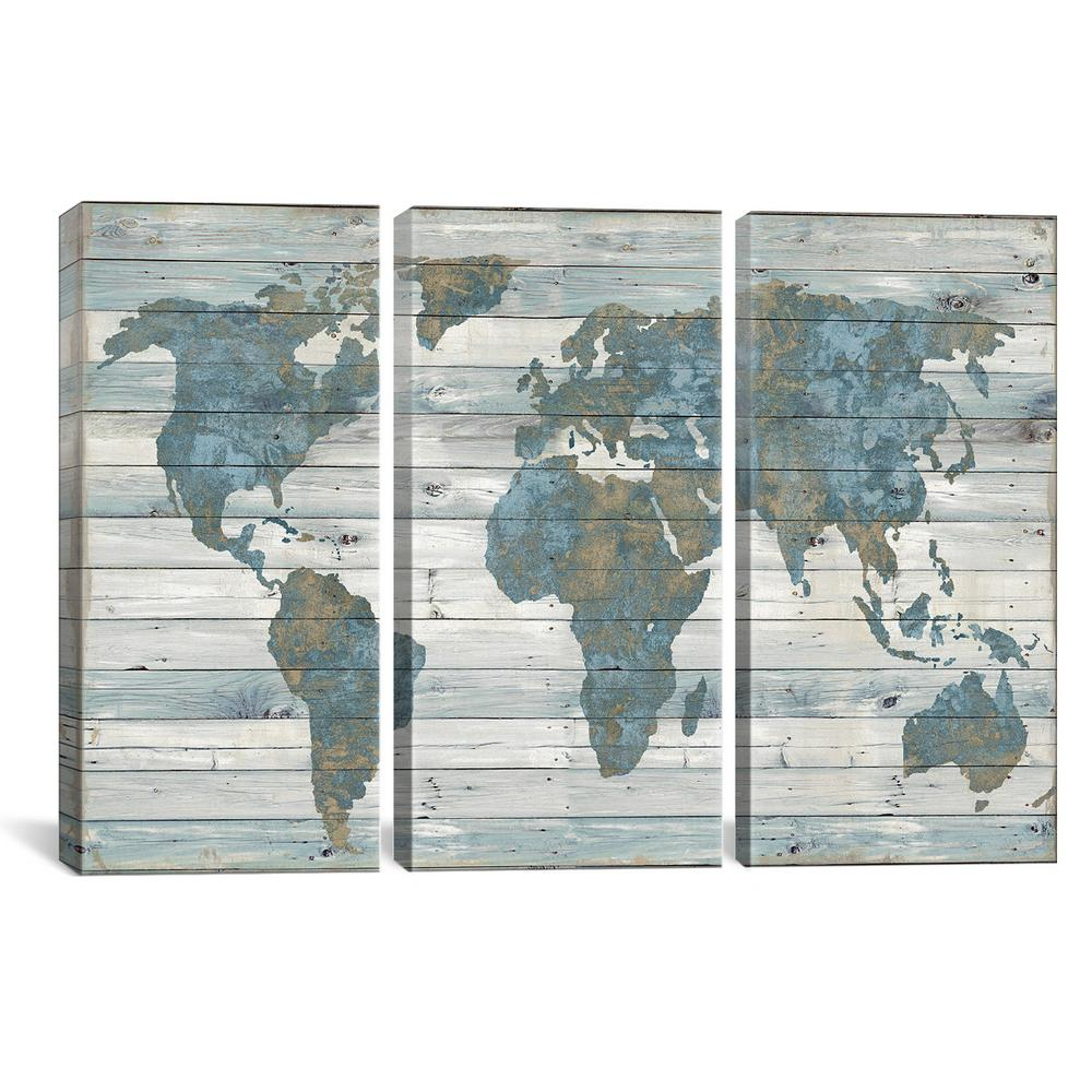 Icanvas World Map On Wood By Janie Macdowell Canvas Wall Art Dwl5