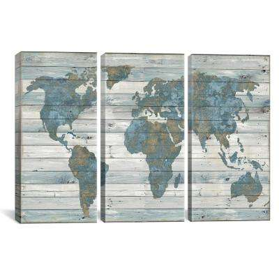 World Map On Wood by Janie Macdowell Canvas Wall Art