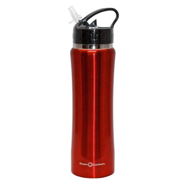 0f6bd9e3cc Green Canteen 25 oz. Red Stainless Steel Double Wall Thermal Vacuum Bottle  (6-