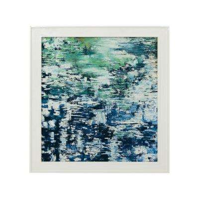 """43 in. x 39 in. """"Lakescape"""" Hand Painted Framed Canvas Wall Art"""