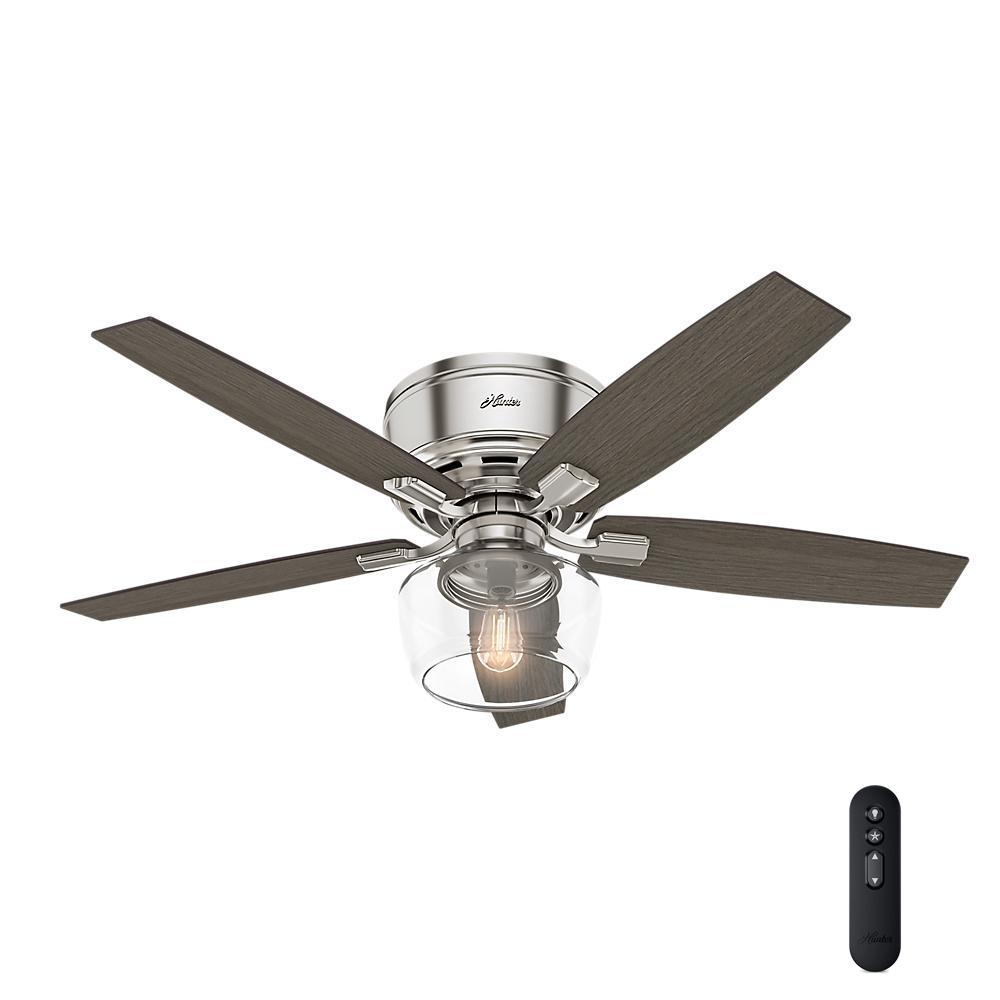 Led Low Profile Brushed Nickel Indoor Ceiling Fan With Light And