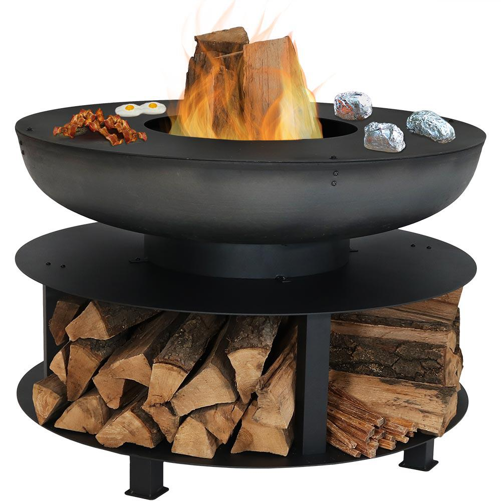 Sunnydaze Decor 40 in. x 28 in. Round Cast-Iron Wood Burning Fire Pit with Cooking Ledge and Built-in Wood Storage
