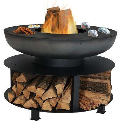 40 in. x 28 in. Round Cast-Iron Wood Burning Fire Pit with Cooking Ledge and Built-in Wood Storage