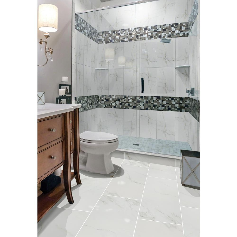 Msi Carrara 12 In X 24 Polished Porcelain Floor And Wall Tile 16 Sq Ft Case