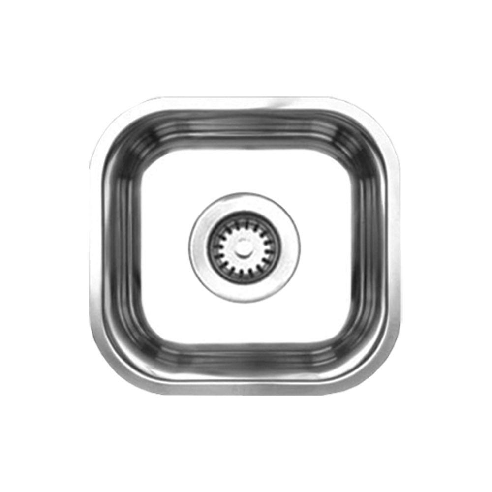 Whitehaus Collection Noah's Collection Undermount Brushed Stainless Steel 13 in. Single Bowl Prep Sink