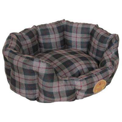 X-Small Olive Green Plaid Bed