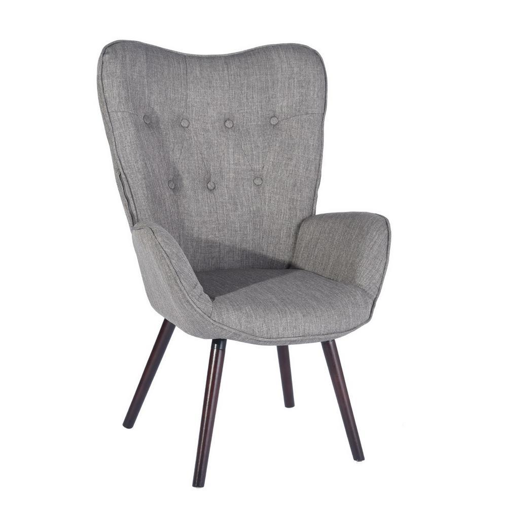 Kas Grey Fabric Tufted Armrest Wingback Chair