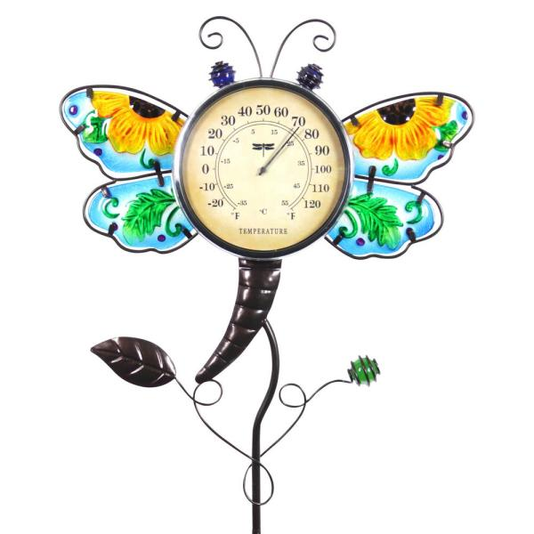 Dragonfly Thermometer 3.0 ft. Multi-Color Metal Garden Stake