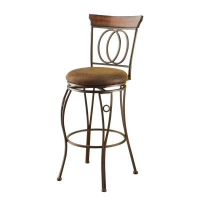 Tavio 29 in. Dark Bronze Swivel Cushioned Bar Stool (Set of 2)