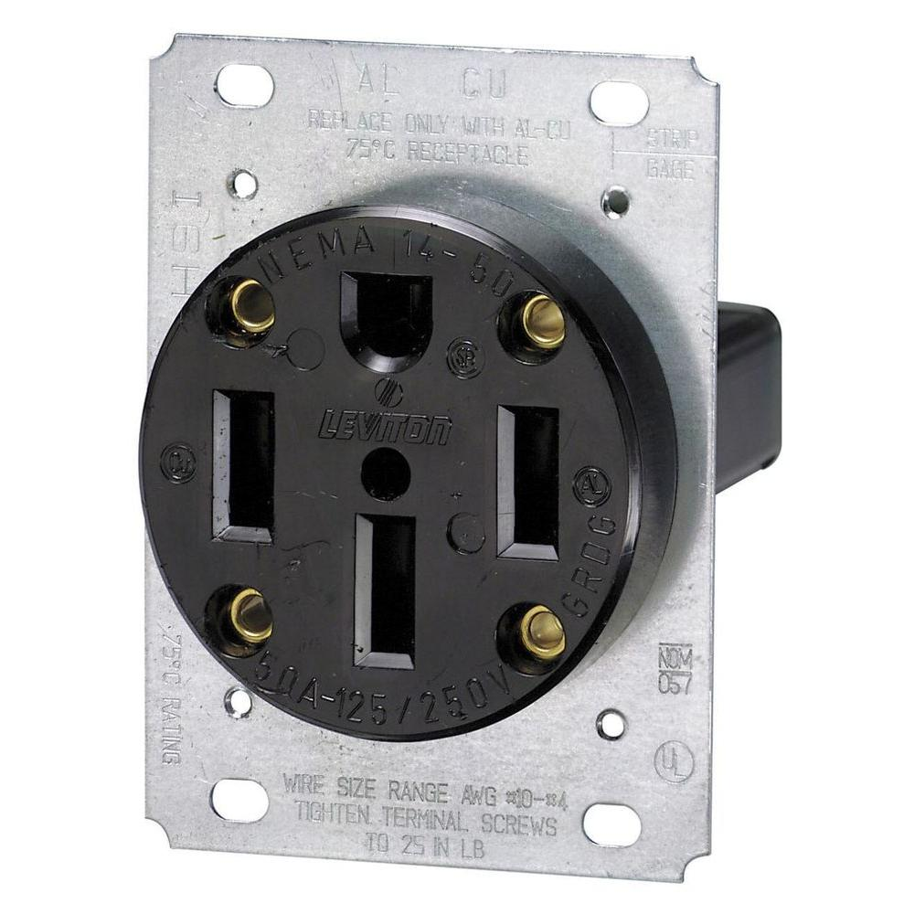 50 Amp Receptacle >> Leviton 50 Amp Flush Mount Shallow Single Outlet Black