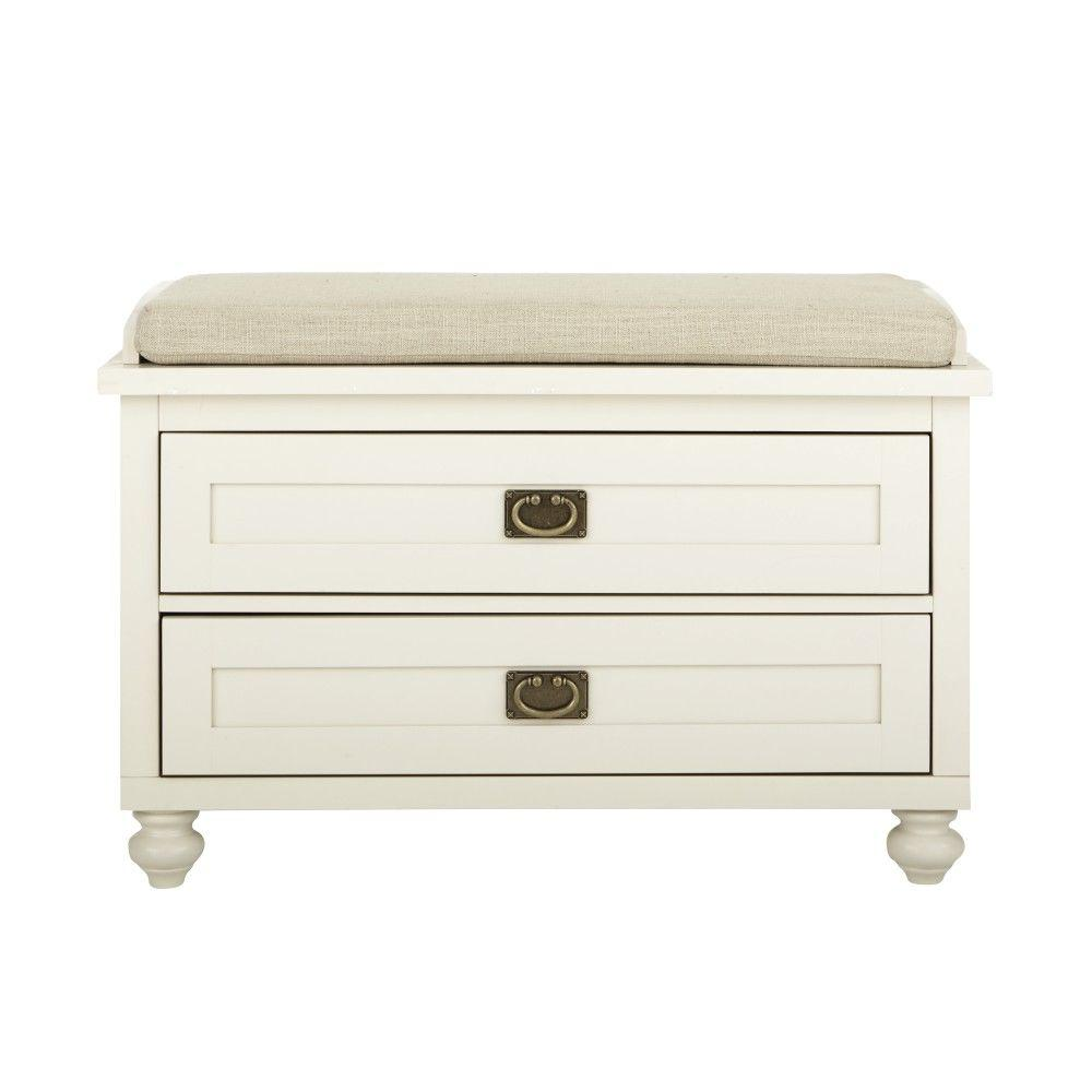 Vernon Polar White 2-Drawer Storage Bench