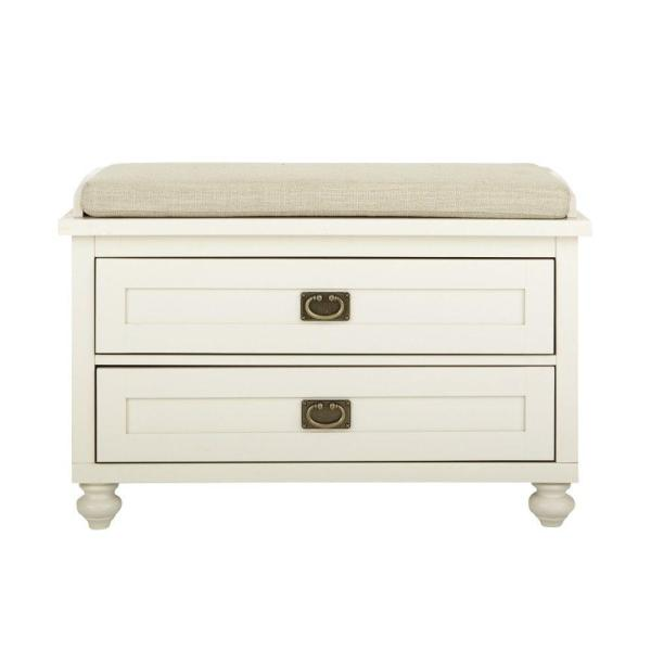 Home Decorators Collection Vernon Polar White 2-Drawer Storage Bench 9608900400