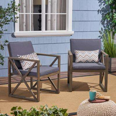 Lisa Gray Stationary Wood Outdoor Lounge Chair with Dark Gray Cushions (2-Pack)